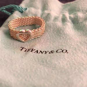 Tiffany & Co. silver mesh heart ring